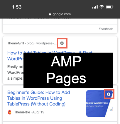 AMP Pages in Google Search