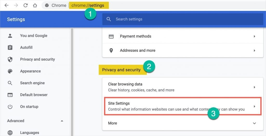 Access Site Settings in Chrome