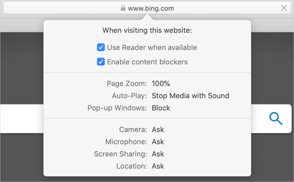Block Pop-ups from Safari Address Bar