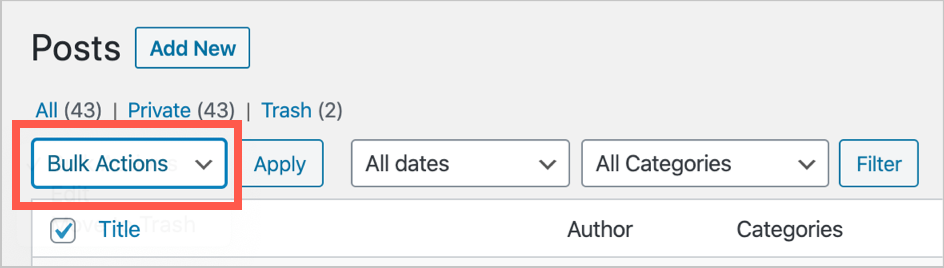 Bulk Edit Posts in WordPress