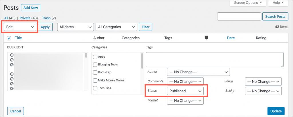 Change Post Status in WordPress