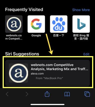 Chrome Tab in Siri Suggestions