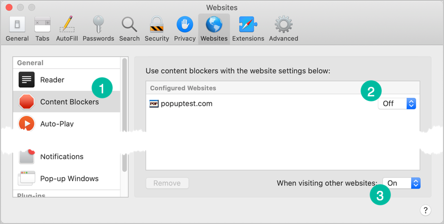 Content Blockers Preferences in Safari