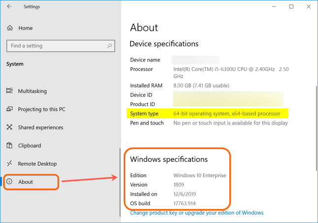 Device and Windows Specifications