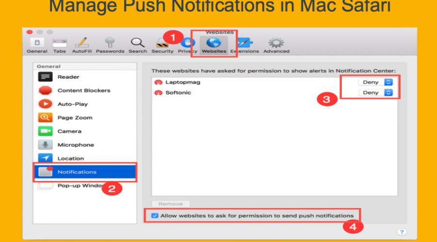How to Enable or Disable Push Notifications in Safari Mac?