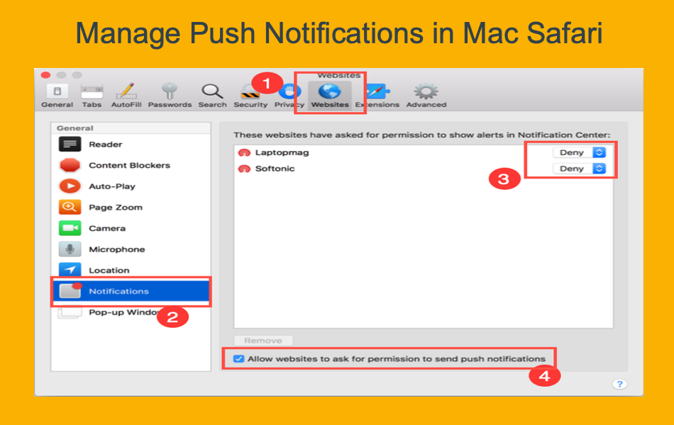 Manage Push Notifications in Mac Safari