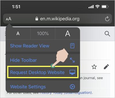 Request Desktop Site in Safari iPhone