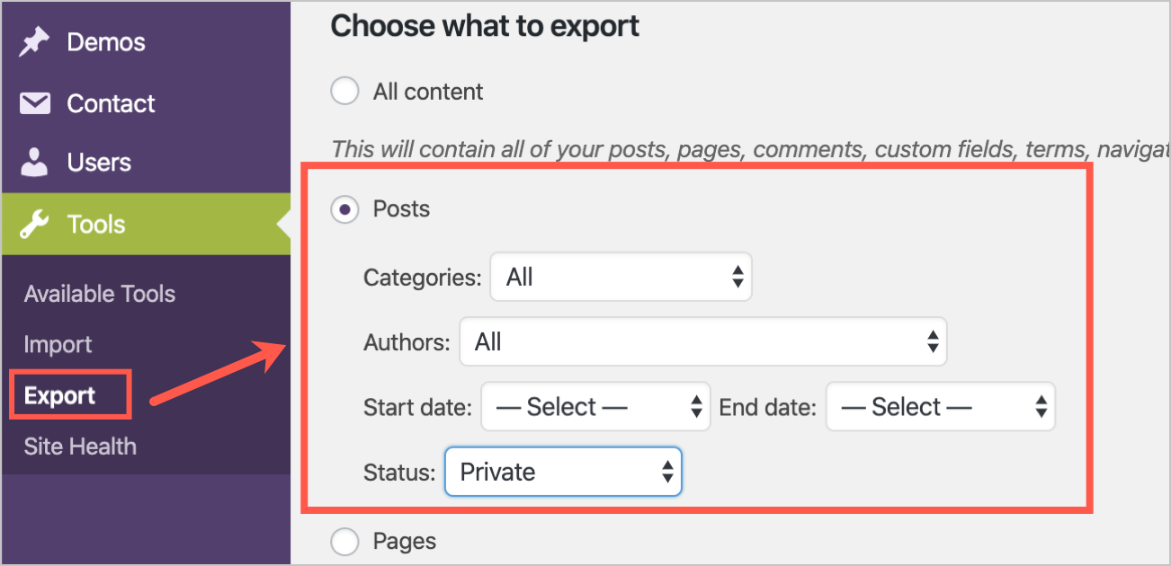 Selecting Posts for Exporting