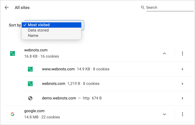 Sort and Search Site Permissions in Chrome
