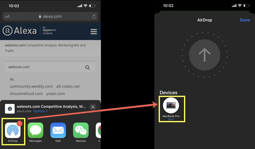 Use AirDrop in iPhone for Sending Safari Tab
