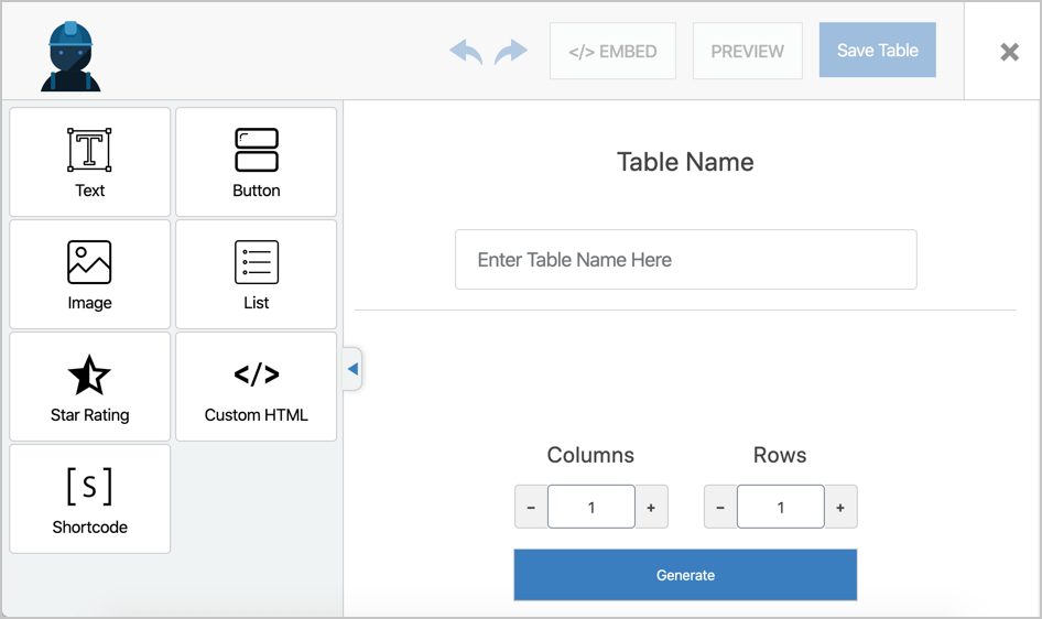 WP Table Builder Drag and Drop Editor