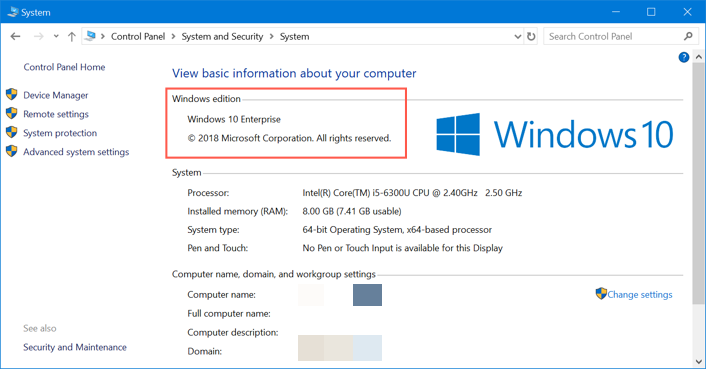 Windows Version from Control Panel