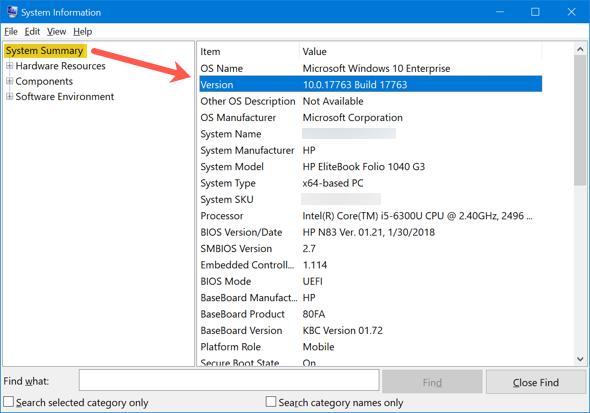 Windows Version in System Information