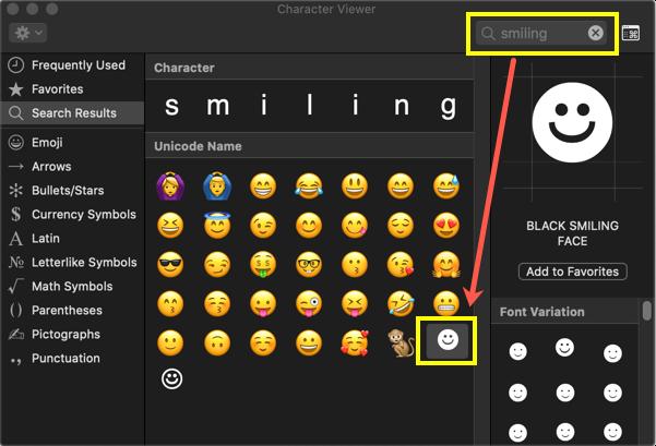 Black Smiling Face in Mac