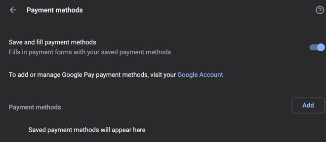 Disable Saving Payment Methods in Chrome