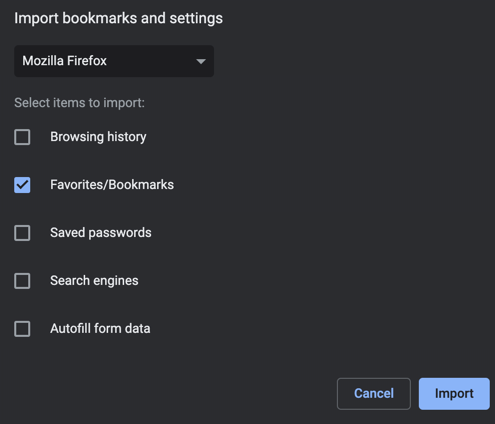 Import Bookmarks from Other Browsers