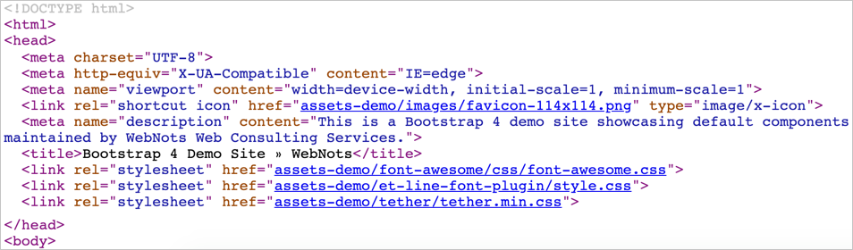 Meta Tags in Page Source