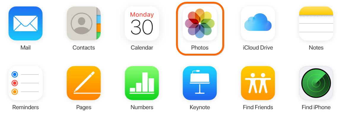 Open Photos Apps in iCloud