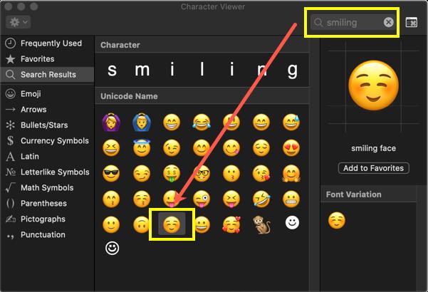 Smiling Face Emoji in Mac