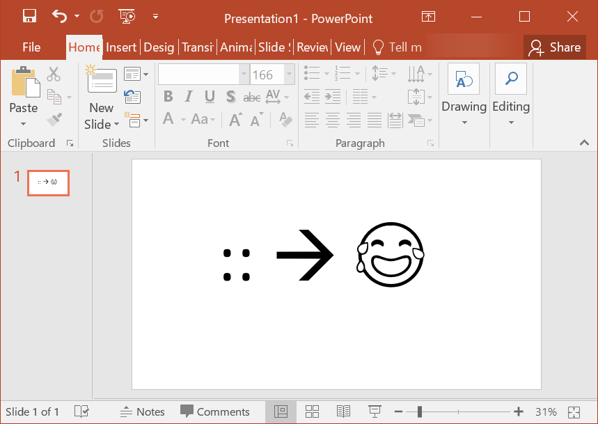 Type Shortcut in PowerPoint