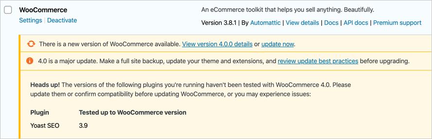 Update WooCommerce Plugin