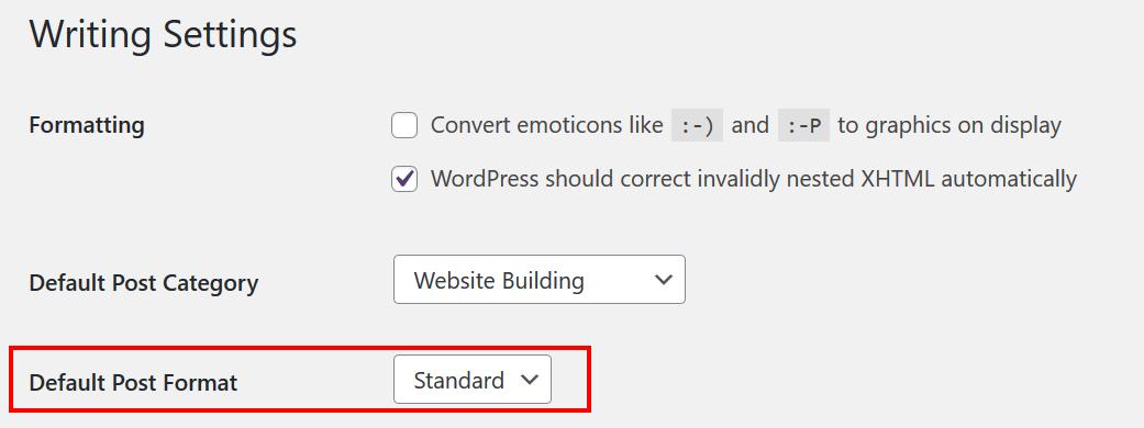 Change Default Post Format in WordPress