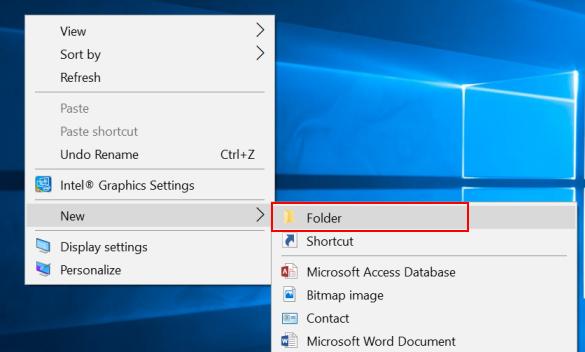 Create New Folder in Windows 10
