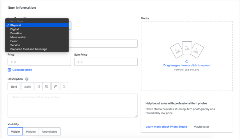 Create Product in Weebly
