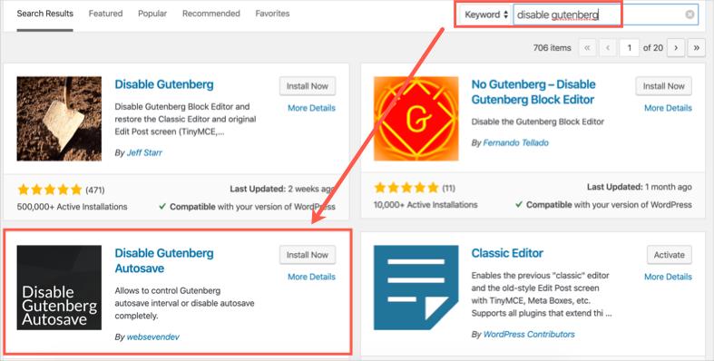 Disable Gutenberg Autosave WordPress Plugin