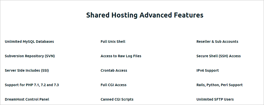 Dreamhost Advanced Features
