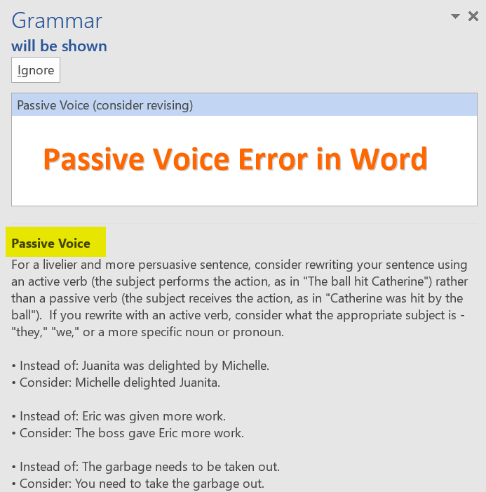 Passive Voice Error in Word