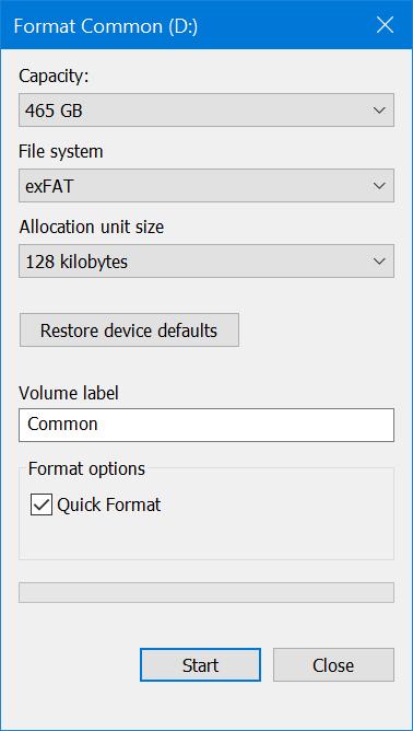 Quick Format in Windows 10