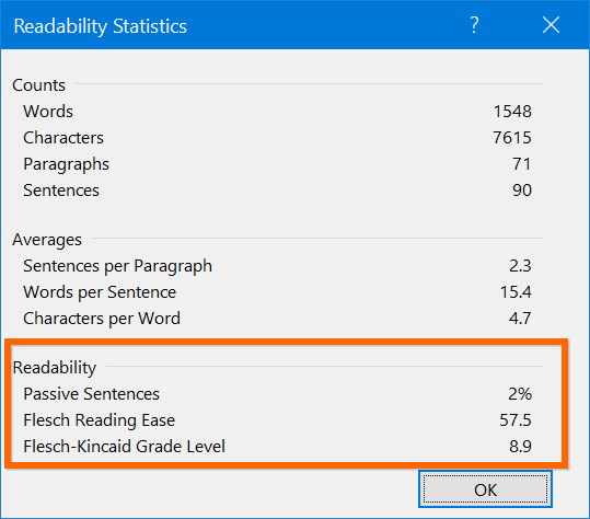 Readability Statistics in Word