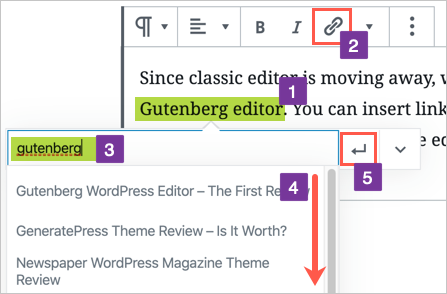 Select Existing Article as Link