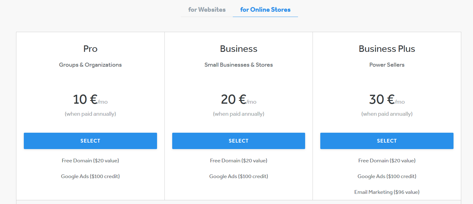 Weebly Pricing in Europe
