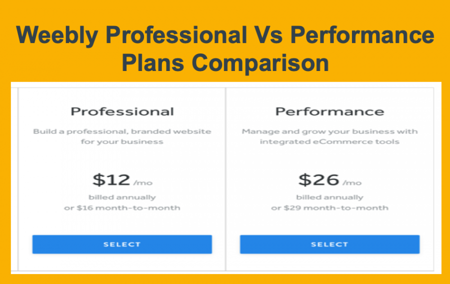 Weebly Professional Vs Performance Plan Comparison