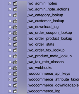 WooCommerce Tables in Database