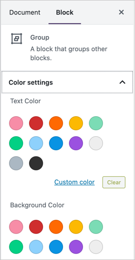 Add Background Color to Group Section