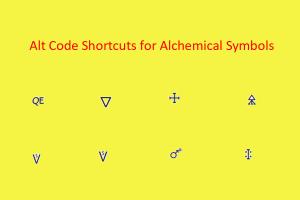 Alt Code Shortcuts for Alchemical Symbols
