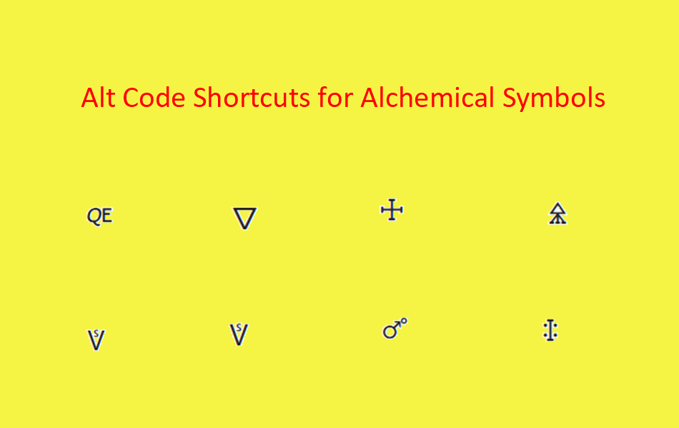 Alt Code Shortcuts for Alchemical Symbols