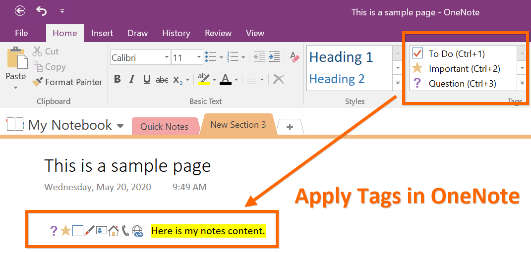Apply Tags in OneNote