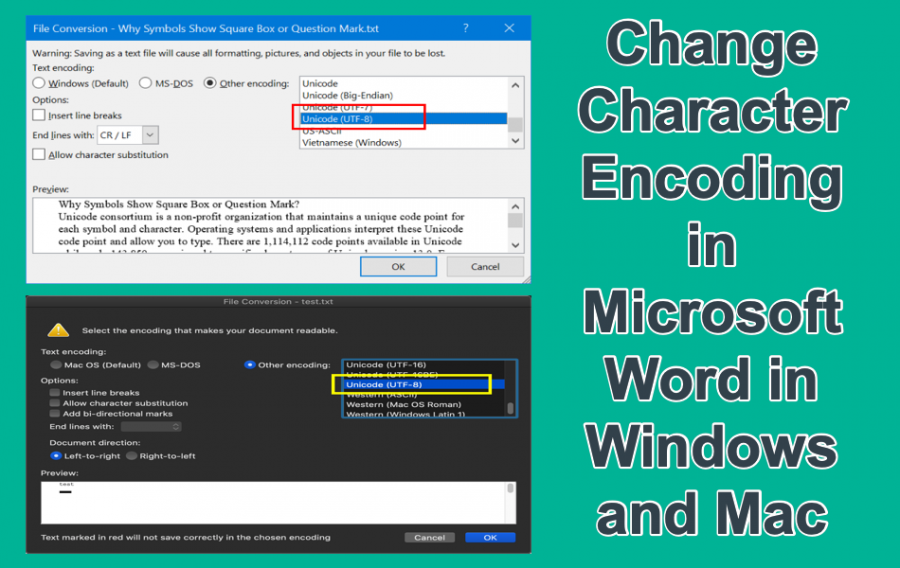 Change Character Encoding in Microsoft Word in Windows and Mac