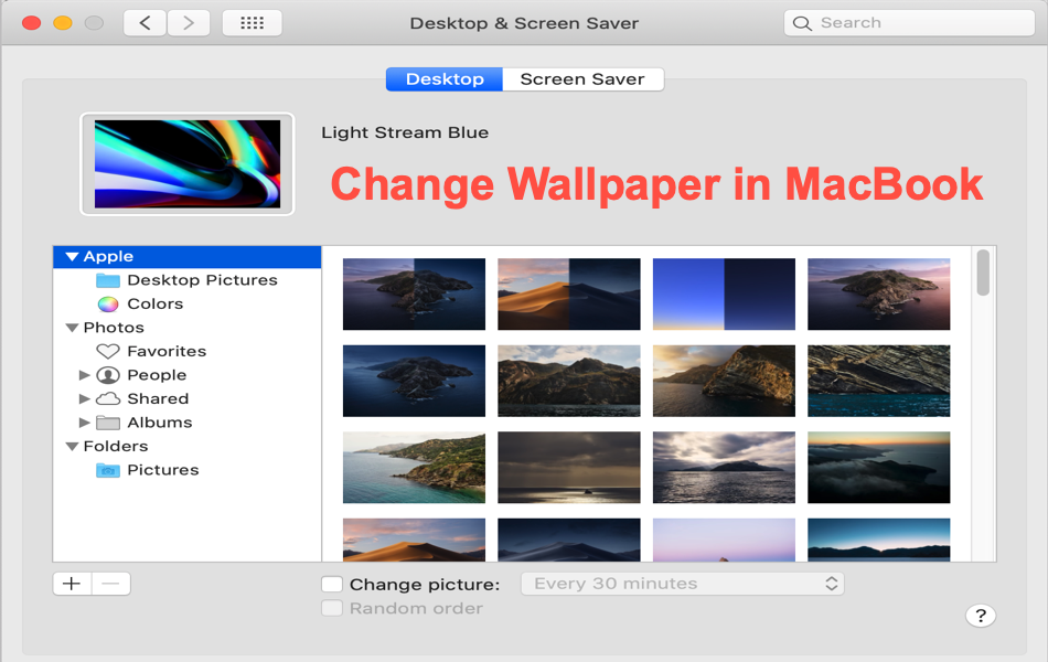 Change Wallpaper and Screen Saver in MacBook