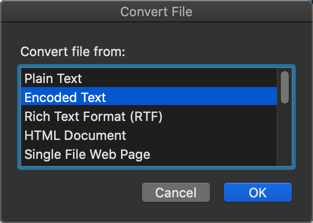 Convert File Option in Mac