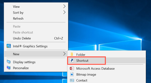 Create New Desktop Shortcut