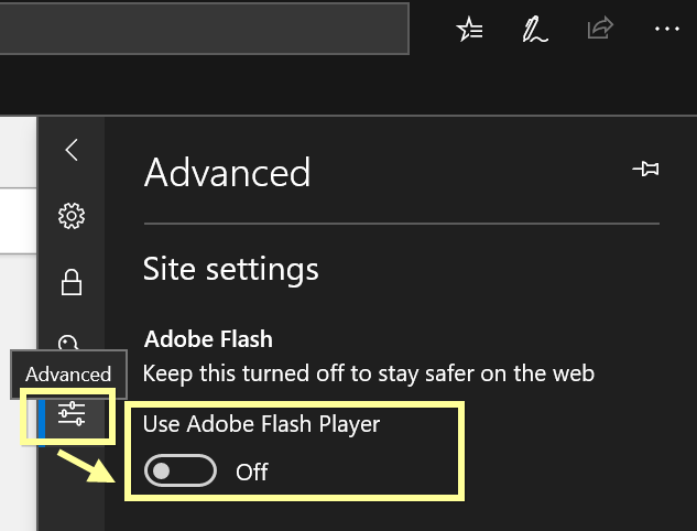 Disable Adobe Flash Player
