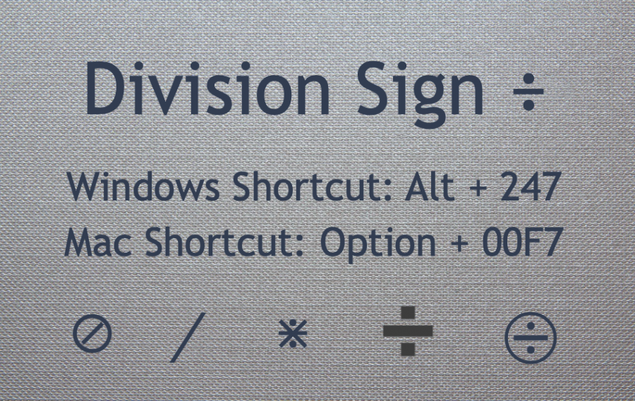 Division Sign Keyboard Shortcuts for Mac and Windows