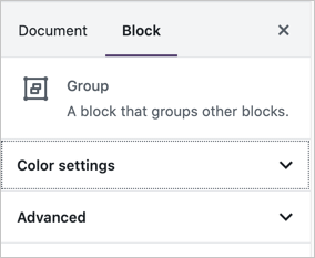 Group Block Settings