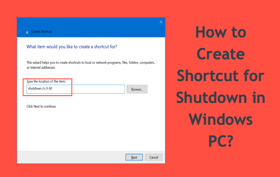How to Create Shortcut for Shutdown in Windows PC?