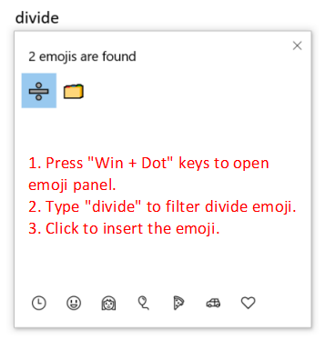 Insert Divide Emoji in Windows 10